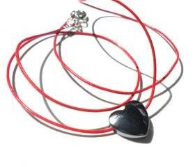 Everyday necklace Leather and hematite heart Simple Minimalist fashion Stiletto Gift for her under 20