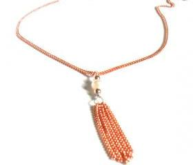 Necklace dainty chain pure copper tassel pearl sterling silver High Fashion shabby chic metallic spring trends For Her Gift Under 25