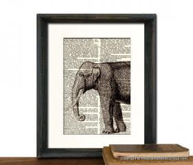 Elephant Art Print - Fathers Day Graduation Gift Present - Home Office Decor MATTED