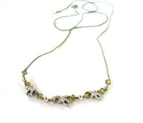 Everyday necklace pure silk swarovski crystals and sterling silver beads - Barely There Dragonflies - for her Under 15