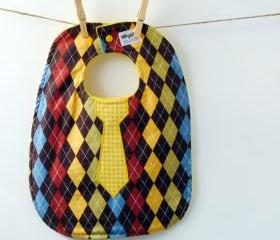 Tie Baby Bib - Argyle Oversize Baby Bib with Snaps