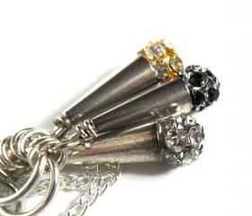 Necklace Swarovski Rhinestone Disco Ball trio pendant gold, silver black high fashion Metallic Valentine's Gift. For Her. Gift Under 20