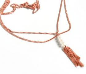 Moonstone, dainty necklace double chain pure copper tassel, High Fashion, shabby chic metallic, Gift for her under 30