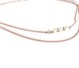 Necklace double chain pure copper pearls sterling silver bar High Fashion shabby chic metallic Valentine's Gift. For Her. Gift Under 30