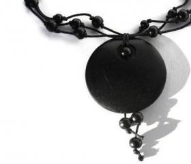 Black Wood Necklace with Pendant. Hand Knotted Necklace.