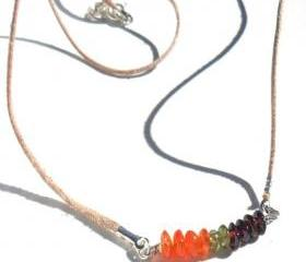 Multigemstone bar necklace, carnelian, peridot, garnet leather Necklace, Mother's day gift for her under 20, summer trends, minimalist