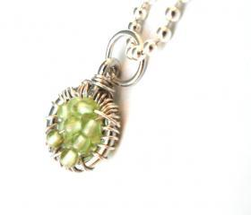 Necklace Sterling silver wire wrapped Pendant Peridot Charm - Full of Wishes - Peridot beads Wasabi Fashion For Her Under 25