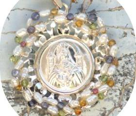 Pendant Medallion Sterling Silver Pearls multi stones blue quartz, citrine, peridot, amethyst Our Lady Catholic gift for her under 80