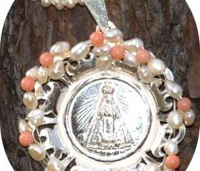 Pendant / Medallion Sterling Silver Coral Pearls. Sterling silver Lady of the Valley Catholic Communion gift for her under 60