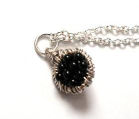 Onyx Capricorn gemstone Necklace Sterling silver Pendant Charm -Caviar- For Her Under 25
