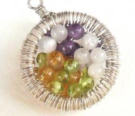 Moonstone, Amethyst, Peridot, Citrine, Sterling Silver wire wrapped Pendant, multi gemstone Necklace, Fertility, Mother's day, gift for her