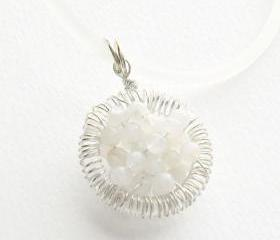 Moonstone necklace, Sterling Silver wire wrapped pendant, 'Full of wishes' Fertility necklace, mother's day, gift for her under 30