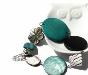 Chunky bracelet in turquoise, teal, gray, black and white with magnetic clasp. Ready to ship.