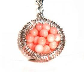 Sterling Silver wire wrapped pendant, Coral necklace, Full of wishes, Mother's day, gift for her under 30