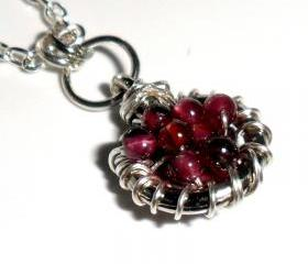January Birthstone Garnet Necklace Sterling silver Pendant Charm -Full of Wishes-Garnet beads Valentine's Gift For Her Under 25