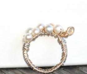 Unique Cocktail Ring wire wrapped Sterling Silver Gold filled Pearls Swarovski Crystals -Tears of joy - Mother's Day gift for her under 50