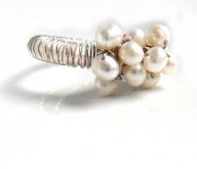 Unique cocktail Ring, White Pearls sterling silver wrapped -Cluster of Joy - Bridal pearl cluster Mother's day gift for her under 30