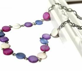 Pastel necklace. Fashion necklace in dots of blue, purple, fuchsia and white lake shell beads: chic, simple and classy. Ready to ship.