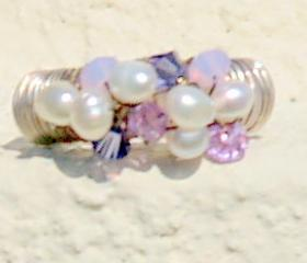 Unique Cocktail Ring sterling silver wrapped cultured white potato pearls swarosvki crystals lavender Agate ring Fashion Valentine's gift