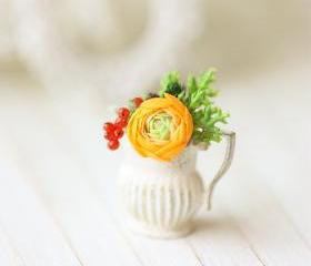 Dollhouse Miniature Flower - Orange Ranunculus Flower Arrangement