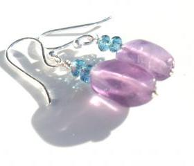 Sterling Silver fishhook Earrings Amethyst Aquamarine crystal Dangle earrings Mother's Day Easter gift for her under 15