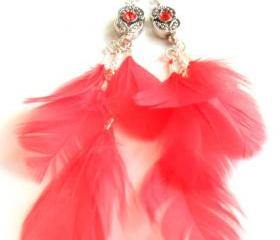 Feather Earrings Sterling Silver swarovski crystal Coral reef feather dangle High Fashion Trendy coral reef Gift for her under 25