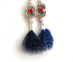 Feather Earrings Sterling Silver swarovski crystal Royal blue feather dangle High Fashion Trendy coral reef Gift for her under 20