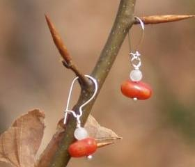 Dangle earrings sterling silver red coral moonstone Valentine's gift for her under 10 fashion