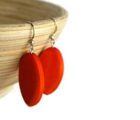 Wood Earrings with Tangerine Tango Orange Wood Beads. Beaded Earrings with Nickel Free Hooks.