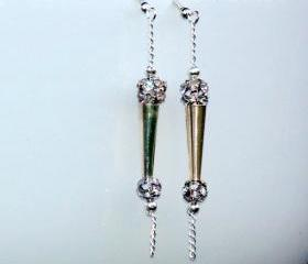 Dangle Earrings Silver Crystal ball. Chain Dangle earrings Disco Fashion Valentine's Gift. For Her. Gift Under 15