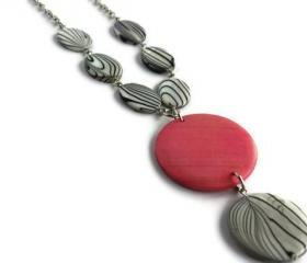 Pink Necklace with Black and White Shells and Wood Pendant. Pendant necklace. Wood necklace.