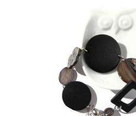 Black bracelet with magnetic clasp. Fashion chunky bracelet. Ready to ship.