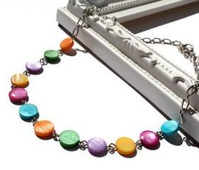 Rainbow necklace with lake shell beads, Colorful Polka Dots Necklace. Ready to ship.