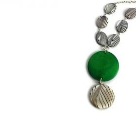 Lime Green Chunky Necklace with Black and White Lake Shells Beads. Pendant Necklace. Wood Necklace.