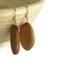 Beaded Earrings with Light Brown Wood Beads on Nickel Free Fish Hooks.