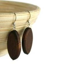 Beaded Earrings with Chocolate Brown Wood Beads on Nickel Free Fish Hooks.