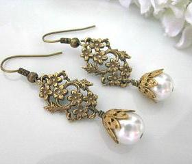 Vintage Style Brass Daisy And Leaf Filigree With White Glass Pearls Bridal Earrings - Bridal Jewelry, Vintage Wedding, Bridesmaid Earrings