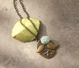 Birds charm necklace in light green rose Bronze necklace
