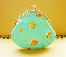 Small Metal Frame Blue Pouch - Flower Breeze - Coin Purse - Framed Purse Frame - Blue Small Pouch - Gift under 15