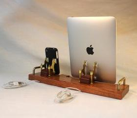 DUAL Unit - iPad - iPhone - iPod - EX Dock - Sync and Charging iDock Station- Custom Built Oak Model..