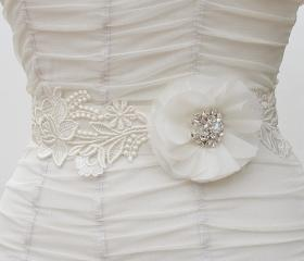 Ivory Wedding Sash, Bridal sash