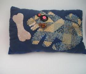 Primitive Whimsical Pillow - Appliqued Australian Cattle Dog or Blue Heeler