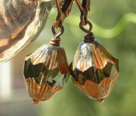 Beaded earrings, Antiqued copper and Czech glass beads, rustic vintage shabby chic, on leverback ear wires, small dangles
