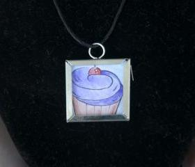 Cupcake Pendant on Black Cord