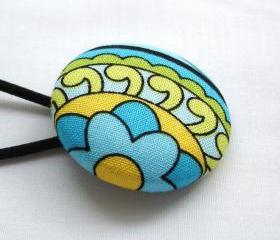 Ponytail Holder, Turquoise Yellow Lime