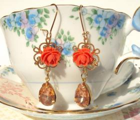 Amber Rose - Vintage Glass Jewel Earrings