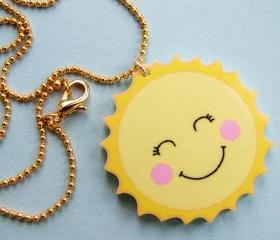 Happy Sun Acrylic Summer Necklace - Childrens Character Necklace