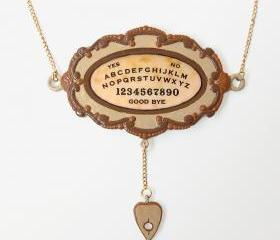 Large Ouija Board Pendant and Gold Chain Necklace