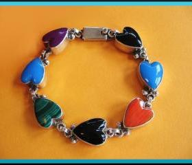 Vintage Sterling Silver Multi- Stone Heart Taxco Bracelet