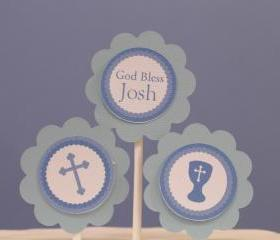 God Bless Blue Cross Cupcake Toppers